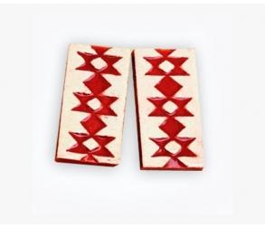 Red KANATIZA-folklore motives ceramic part with Silver Screw-Back