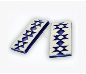 Blue KANATIZA - folklore motives ceramic part with Silver Screw-Back